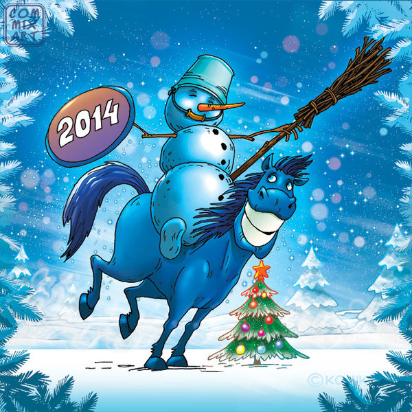 Happy New Year 2014 - Blue horse 3
